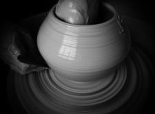 bw turning curved vase